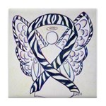 Zebra Awareness Ribbon Tile Coaster