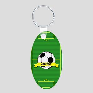 Soccer Aluminum Oval Keychain