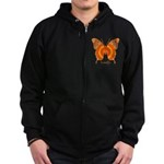 Summer Orange Butterfly Zip Hoodie (dark)
