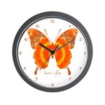 Summer Orange Butterfly Wall Clock