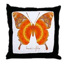 Summer Orange Butterfly Throw Pillow