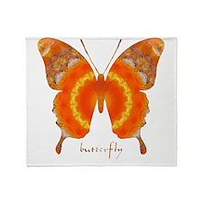 Summer Orange Butterfly Throw Blanket