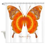 Summer Orange Butterfly Shower Curtain