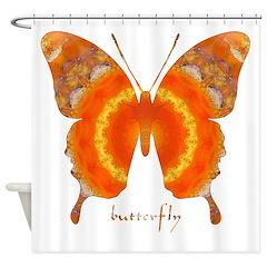 Summer Orange Butterfly Shower Curtain