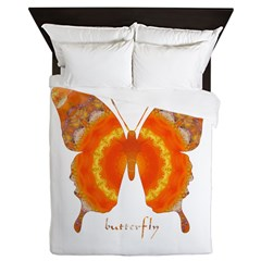 Summer Orange Butterfly Queen Duvet