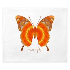 Summer Orange Butterfly King Duvet
