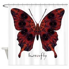 Talisman Black Butterfly Shower Curtain