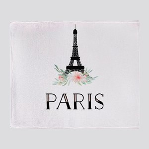 Eiffel Tower and Pretty Watercolor Flowers Throw B