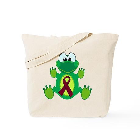 Burgundy Awareness Ribbon Frog Tote Bag