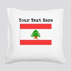 Custom Lebanon Flag Square Canvas Pillow