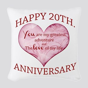 20th. Anniversary Woven Throw Pillow