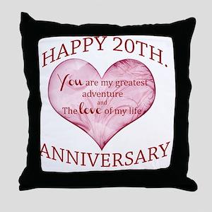 20th. Anniversary Throw Pillow