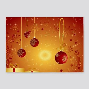 Merry Christmas Retro Script Holida 5'x7'Area Rug