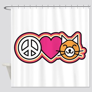 Peace-Love-Pussycats Shower Curtain