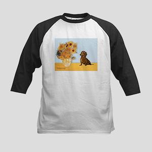 Sunflowres / Dachshund Kids Baseball Jersey