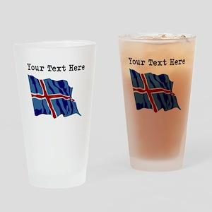 Custom Iceland Flag Drinking Glass