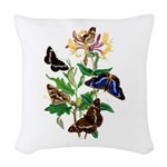 Butterflies and Honeysuckle Woven Throw Pillow