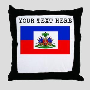 Custom Haiti Flag Throw Pillow