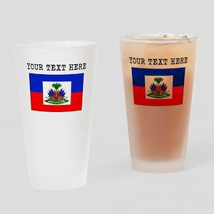 Custom Haiti Flag Drinking Glass