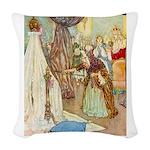 Sleeping Beauty_GREEN Woven Throw Pillow