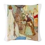 Sleeping Beauty_GREEN Woven Throw Pillow