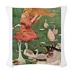The Goose Girl_GREEN Woven Throw Pillow