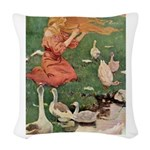 The Goose Girl_PINK copy Woven Throw Pillow