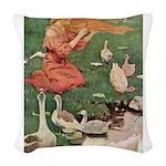 The Goose Girl Woven Throw Pillow