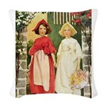 Snow White and Rose Red Woven Throw Pillow