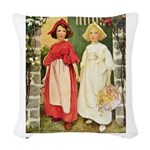 Snow White and Rose Red_red Woven Throw Pillow