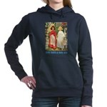 Snow White and Rose Red_blue Women's Hooded Sw