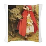 Little Red Riding Hood_gold Woven Throw Pillow