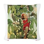Jack and the Beanstalk_red Woven Throw Pillow