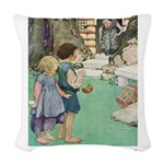 Hansel and Gretel_pink Woven Throw Pillow