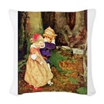 Babes in the Wood_blue Woven Throw Pillow