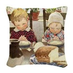 A Childs Book-saying grace Woven Throw Pillow
