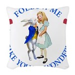 ALICE AND RABBIT BLUE copy Woven Throw Pillow