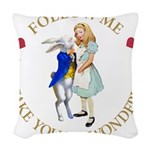 ALICE AND RABBIT GOLD copy Woven Throw Pillow