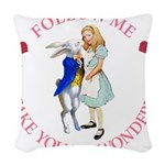 ALICE AND RABBIT PINK copy Woven Throw Pillow