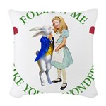ALICE AND RABBIT GREEN copy Woven Throw Pillow
