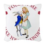ALICE AND RABBIT RED copy Woven Throw Pillow