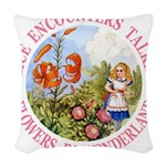 Alice Talking Flowers_PINK copy Woven Throw Pi