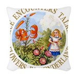 Alice Talking Flowers_GOLD copy Woven Throw Pi