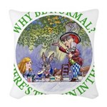 ALICE WHY BE NORMAL_green copy Woven Throw Pil