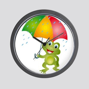Frog Under Umbrella in the Rain Wall Clock