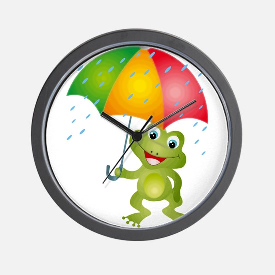 Frog Under Umbrella in the Rain Wall Clock
