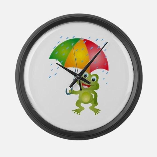 Frog Under Umbrella in the Rain Large Wall Clock
