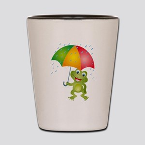 Frog Under Umbrella in the Rain Shot Glass