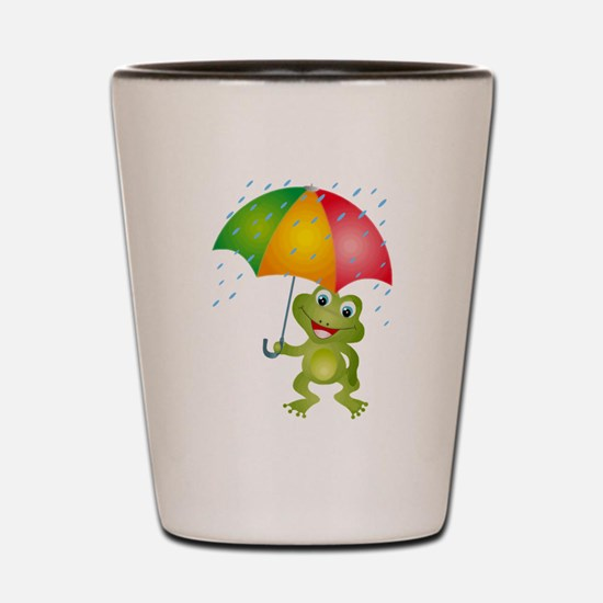 Frog Under Umbrella in the Rain Shot Glass