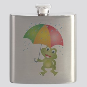 Frog Under Umbrella in the Rain Flask